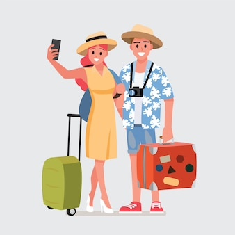Glückliche gruppe des jugendlich reisenden