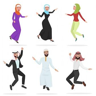 Glückliche gruppe des netten springens der arabischen leute.