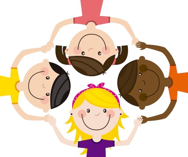 Glückliche gruppe kinder team vektor-illustration