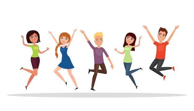 Glückliche gruppe von menschen, junge, mädchen springen