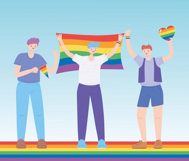 Glückliche gruppenfeier schwule parade