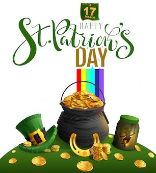 Glückliche grußkarte st. patricks tages. text- und feiertagszubehörgroßer kessel mit gold, regenbogen, kobold, goldenem hufeisen, grünem hut