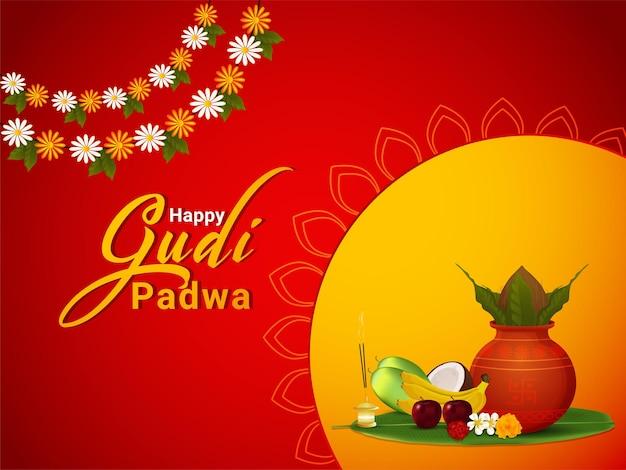 Glückliche gudi padwa grußkarte mit realistischem kalash und süßigkeiten
