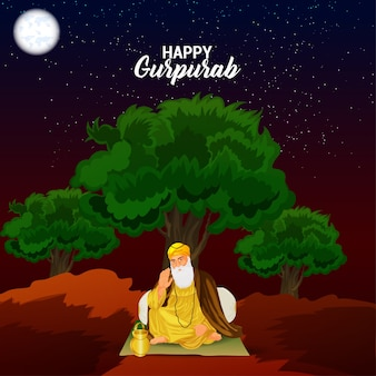 Glückliche gurpurab kreative illustration