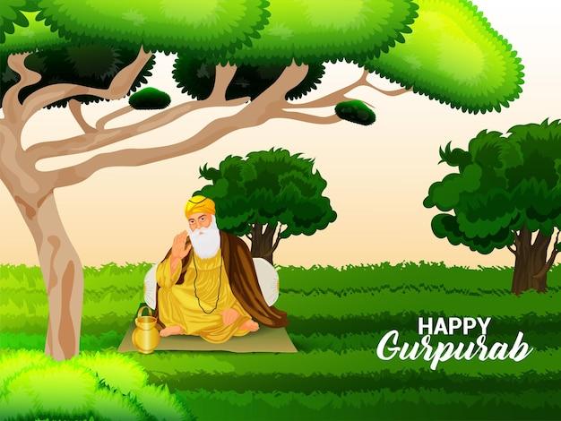 Glückliche guru nanak jayanti feier grußkarte mit vektor-illustration