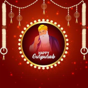 Glückliche guru nanak jayanti feier grußkarte