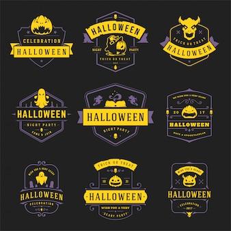 Glückliche halloween-aufkleber und abzeichen entwerfen gesetzte weinlesetypografieschablonen