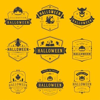 Glückliche halloween-aufkleber und ausweise oder logos entwerfen gesetzte weinlese