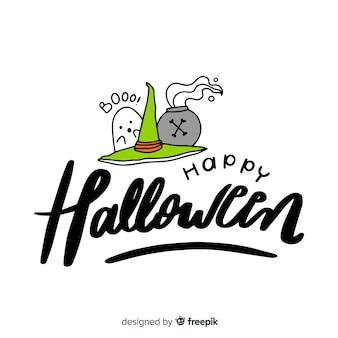 Glückliche halloween-beschriftung mit geist- und hexenhut