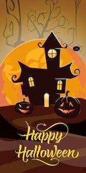 Glückliche halloween-beschriftung mit orange mond, schloss und kürbisen