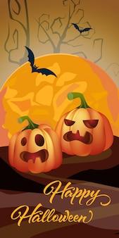 Glückliche halloween-beschriftung mit orange mond und kürbisen
