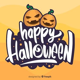 Glückliche halloween-beschriftung mit verärgerten kürbisen