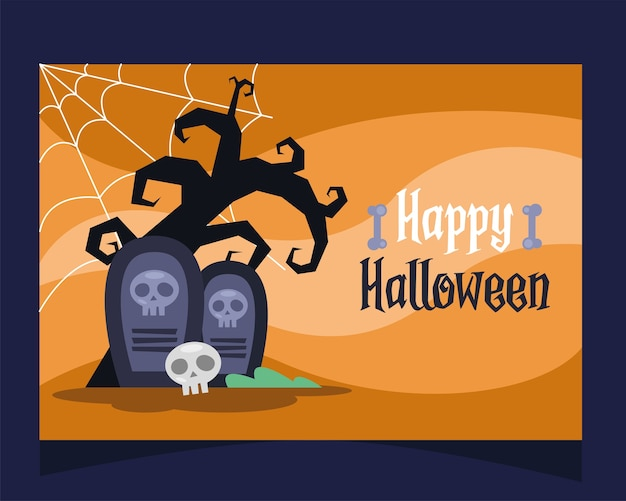 Glückliche halloween-beschriftungskarte mit friedhöfen im baumvektorillustrationsentwurf
