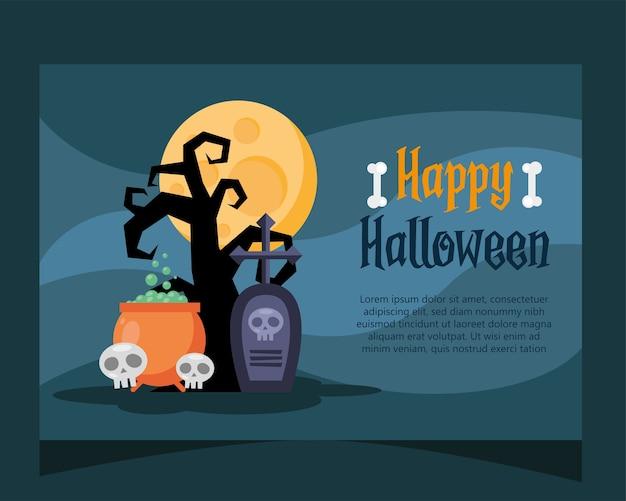 Glückliche halloween-beschriftungskarte mit kessel- und schädelvektorillustrationsentwurf