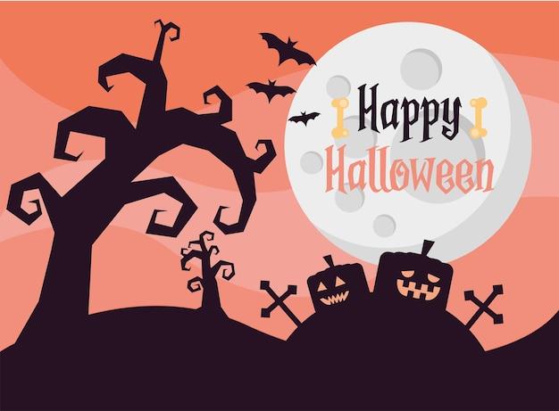 Glückliche halloween-beschriftungskarte mit kürbissen im friedhof bei nachtszenenvektorillustrationsentwurf