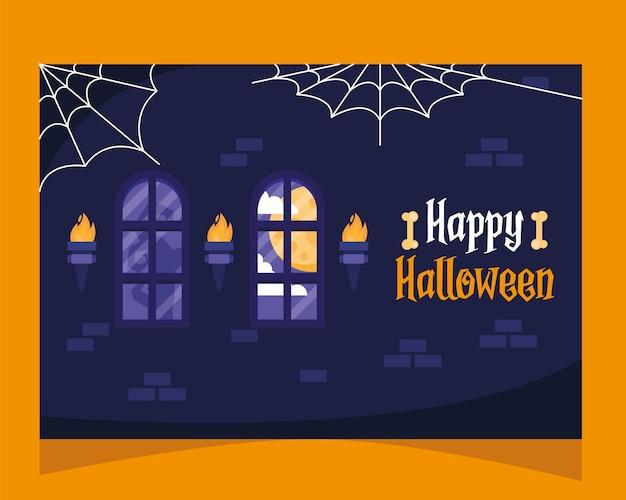 Glückliche halloween-beschriftungskarte mit schlossfenstern und spidernets vektorillustrationsdesign