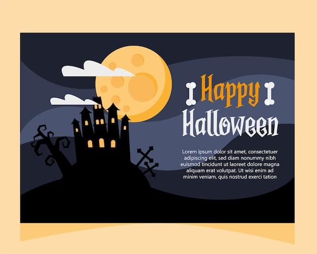 Glückliche halloween-beschriftungskarte mit spukschloss bei nachtszenenvektorillustrationsentwurf