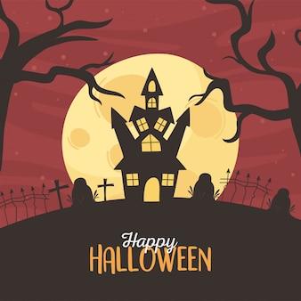 Glückliche halloween, burgfriedhof grabsteine kreuzen trockene bäume mondnacht trick oder behandeln party feier vektor-illustration