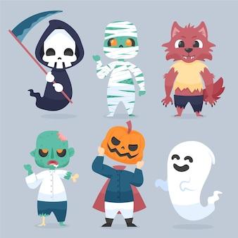 Glückliche halloween-charaktere
