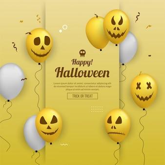 Glückliche halloween-einladungskarte mit ballonen für parteifeier