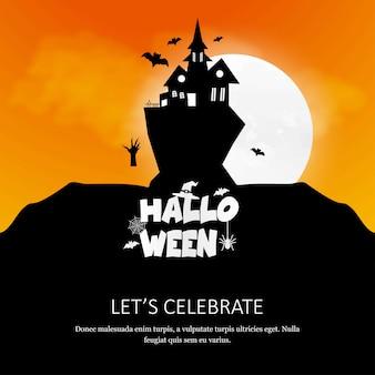 Glückliche halloween-einladungskarte mit kreativem designvektor