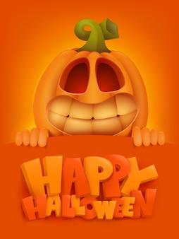 Glückliche halloween-einladungskartenschablone mit kürbiszeichentrickfilm-figur.