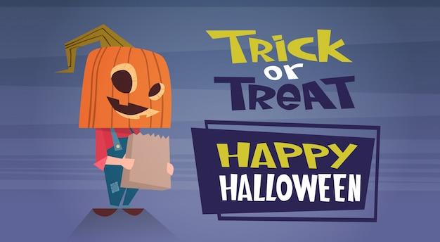 Glückliche halloween-fahne mit niedlichem cartoon-kürbis-trick oder leckerei