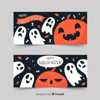 Glückliche halloween-fahnen mit kürbis und geistern