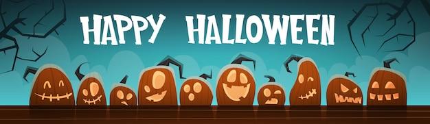 Glückliche halloween-fahnen-verschiedene kürbis-traditionelle dekoration