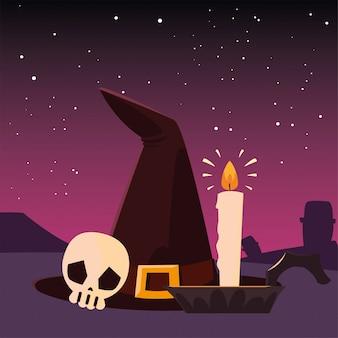 Glückliche halloween-feier der hexenhutschädel-kerze