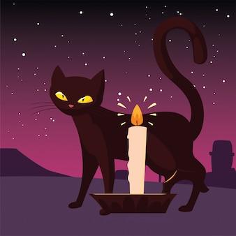 Glückliche halloween-feier der katze und der kerze