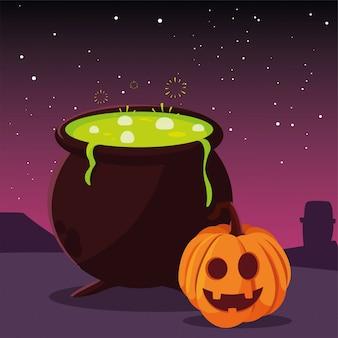 Glückliche halloween-feier des großen kessels und der kürbise