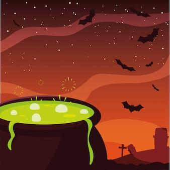 Glückliche halloween-feier des kesseltranks