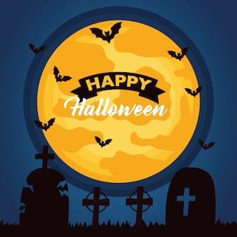 Glückliche halloween-feierbeschriftung mit mond und fledermäusen, die im friedhof fliegen