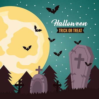 Glückliche halloween-feierbeschriftung mit vollmond und fledermäusen im friedhof