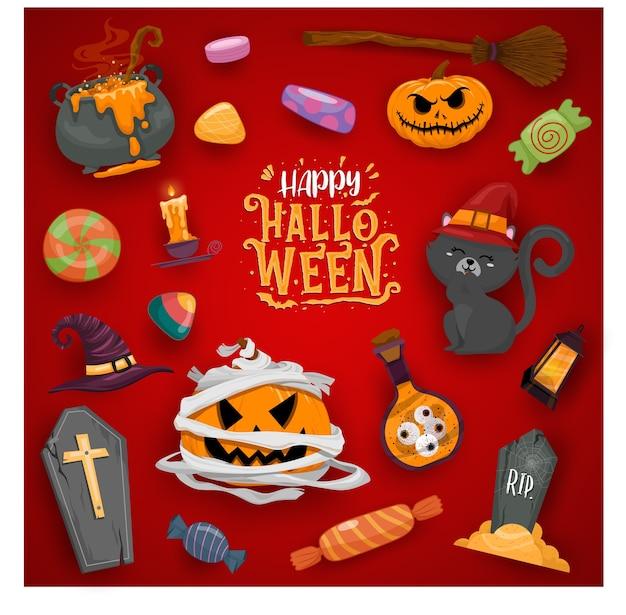 Glückliche halloween-feierillustrationen