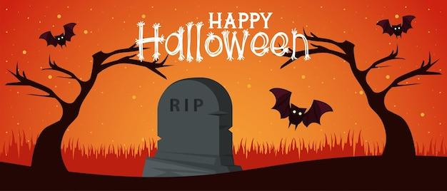 Glückliche halloween-feierkarte mit fledermäusen, die im friedhof fliegen