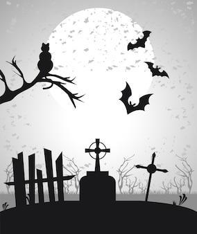 Glückliche halloween-feierkarte mit fledermäusen, die in der friedhofsszene fliegen.