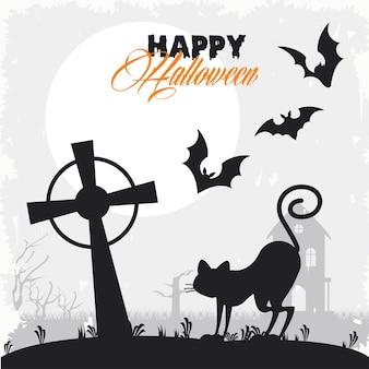 Glückliche halloween-feierkarte mit fliegenden fledermäusen und katze im friedhof.