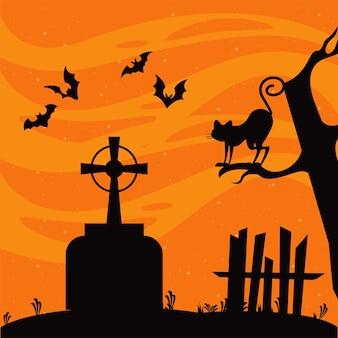 Glückliche halloween-feierkarte mit fliegenden fledermäusen und katze in der friedhofsszene.