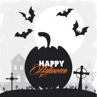 Glückliche halloween-feierkarte mit fliegenden fledermäusen und kürbis im friedhof.