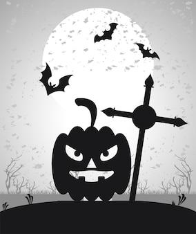 Glückliche halloween-feierkarte mit fliegenden fledermäusen und kürbisgesicht im friedhof.
