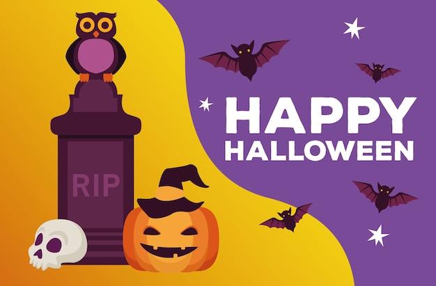 Glückliche halloween-feierkarte mit friedhof und kürbisvektorillustrationsentwurf
