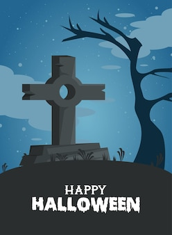 Glückliche halloween-feierkarte mit friedhofsgrab