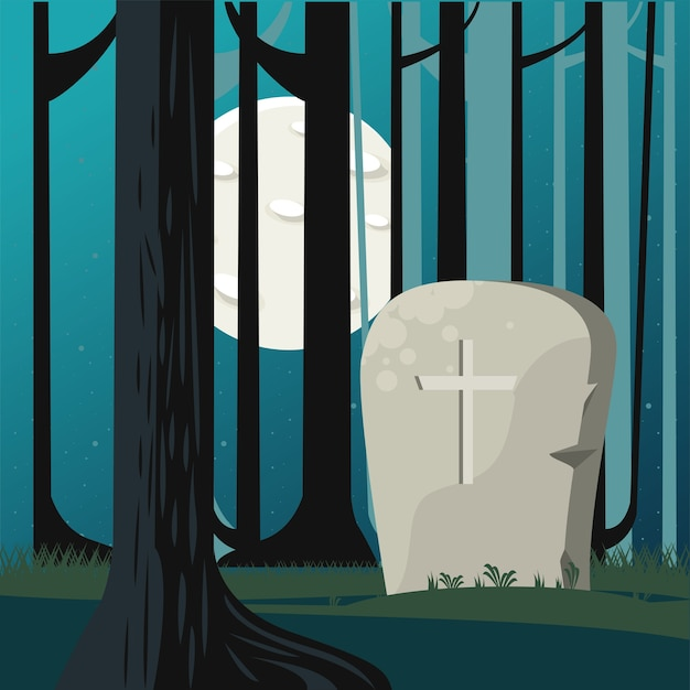 Glückliche halloween-feierkarte mit grab in waldszene.