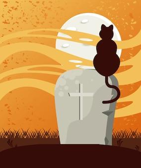 Glückliche halloween-feierkarte mit grab- und katzenszene.