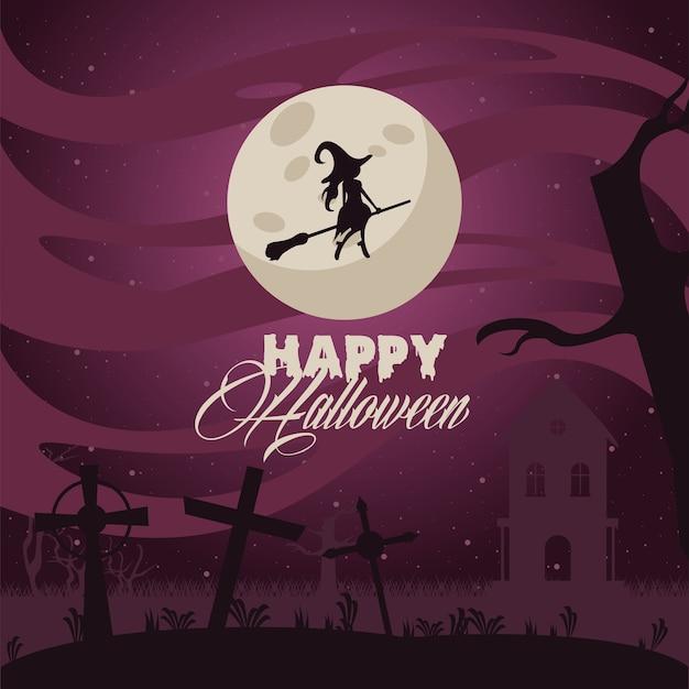 Glückliche halloween-feierkarte mit hexe, die bei mondlicht fliegt.