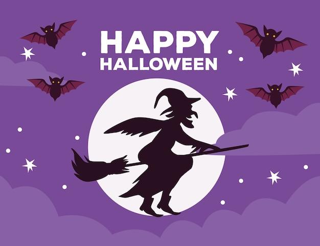 Glückliche halloween-feierkarte mit hexenfliegen im besen- und mondvektorillustrationsentwurf