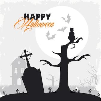 Glückliche halloween-feierkarte mit katze im friedhof.