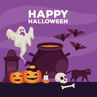 Glückliche halloween-feierkarte mit kessel- und geistervektorillustrationsentwurf